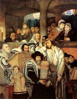Gottlieb-Jews Praying in the Synagogue on Yom Kippur