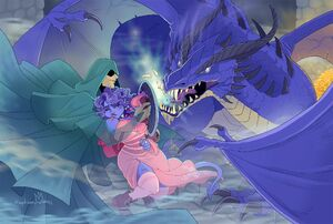 Jester and The Traveler vs the blue dragon by Amy King