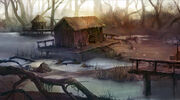 R169 457x255 3088 Swamp village 2d fantasy village swamp picture image digital art