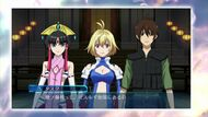 Salamandinay, Ange and Tusk gameplay scene in Cross Ange TR.