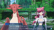 Naomi and Dragon Vivian gameplay scene in Cross Ange TR.