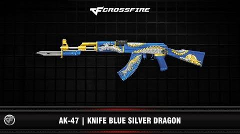 CF AK-47 Knife Blue Silver Dragon
