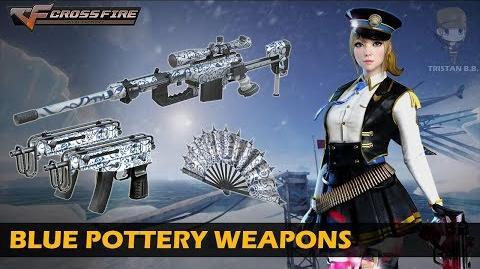 CrossFire China CheyTac M200-Elite, Dual Scorpion VZ.61 & War Fan-Blue Pottery (Showcase)