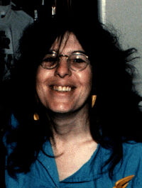 Catherine Yronwode, at the Oakland Comic Book Convention in the 1980s