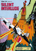 """Page form a comic book depicting a ninja warrior on a small aircraft flying towards an ominous mountain castle, with the words """"Silent Interlude"""" in the foreground."""