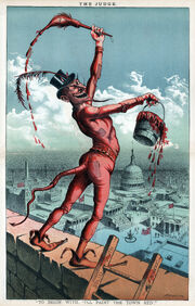 """""""I'll paint the town red"""", political cartoon, 1885"""