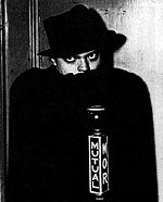 Promotional photograph of Orson Welles dressed as The Shadow, dated 1937 or 1938.