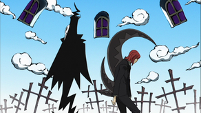 Spirit with scythe blade sticking out from his back with Lord Death