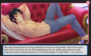 Garret shirtless