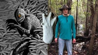 Swamp Cryptids Moss Man, Skunk Ape and Lizard Man of Scape Ore Swamp