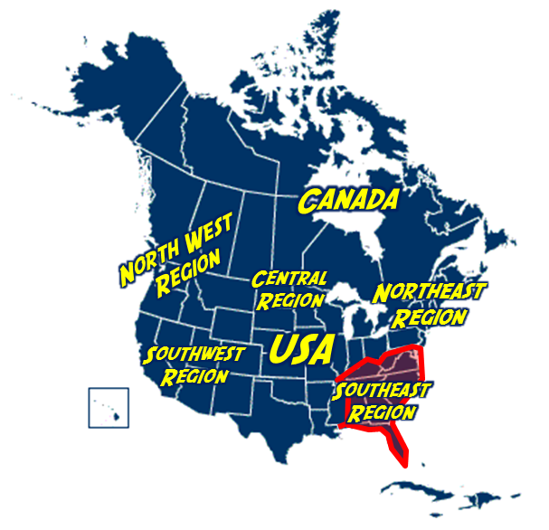 Southeast Region Of North America Cryptid Wiki FANDOM Powered - Usa map north south east west