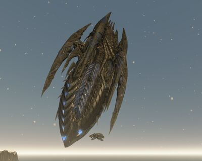 Warrior and Alienship size comparision