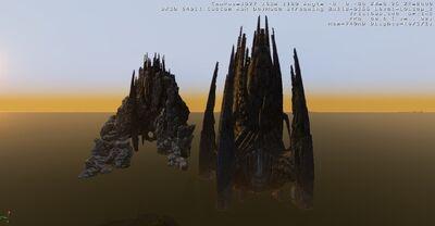 Alien Mountain and Alienship Size comparison