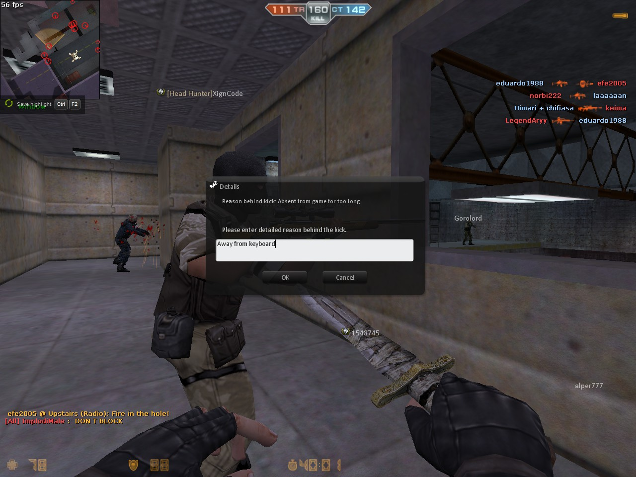 console command to kick yourself csgo