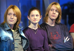 Oliver and James Phelps, with Bonnie Wright