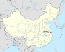 Wuxi's location in China