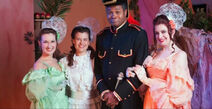 Darryl Maximilian Robinson as Major-General Stanley and Michelle Reese, Jennifer Sperry and Kelsey Bullock as His Daughters in The Pirates of Penzance.