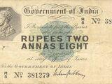 Burmese 2 rupee 8 anna banknote