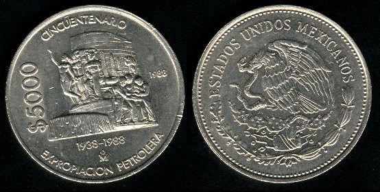 Mexican 5000 peso coin | Currency Wiki | FANDOM powered by Wikia