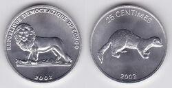 DRC 25 centimes weasel