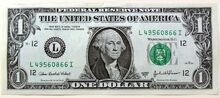 One US dollar note 0127 22