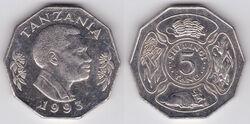 Tanzania 5 shillings 1993