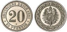 20 Pfennig 1887 E, mit Stern, mcsearch