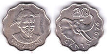 Swaziland 20 cents 1974