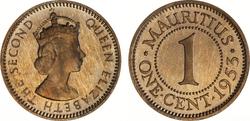 Mauritius 1 cent 1953 pf