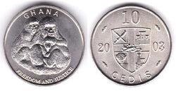 Ghana 10 cedi fantasy coin 2003