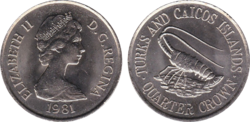 Turks and Caicos quarter crown 1981