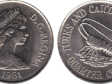 Turks and Caicos Islands ¼ crown coin