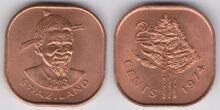 Swaziland 2 cents 1974