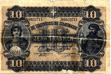 Swiss Federal Treasury 10 franken 1914 o
