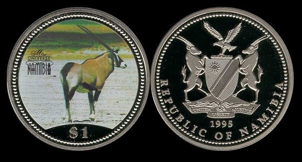 3 DIFFERENT 1 DOLLAR COINS from NAMIBIA 1993, 1996 /& 2006
