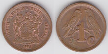 South Africa 1 cent 1993