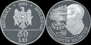 Moldova 50 lei Brâncuşi 2001