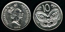 New Zealand 10 cents 1996