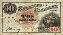 Sweden 10 krona 1922 obv