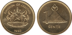 Lesotho 1 sente 1992 plated
