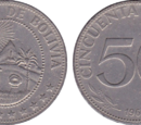 Bolivian 50 centavo coin (peso)