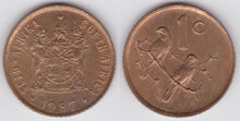 South Africa 1 cent 1987