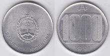 1000 australes coin Al