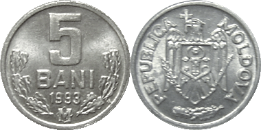 1995 /& 2001 2 DIFFERENT 5 BANI COINS from MOLDOVA