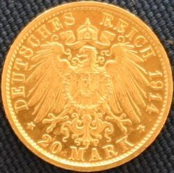Preußen Wilhelm II in Uniform 20 Mark Revers