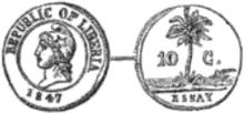 Liberia 10 cents 1847