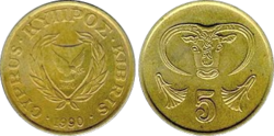 Cyprus 5 cents 1990