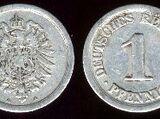 German 1 pfennig coin (1873-1918)