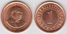 Mauritius 1 cent 1987
