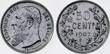 Coin BE 50c Leopold II FR 39